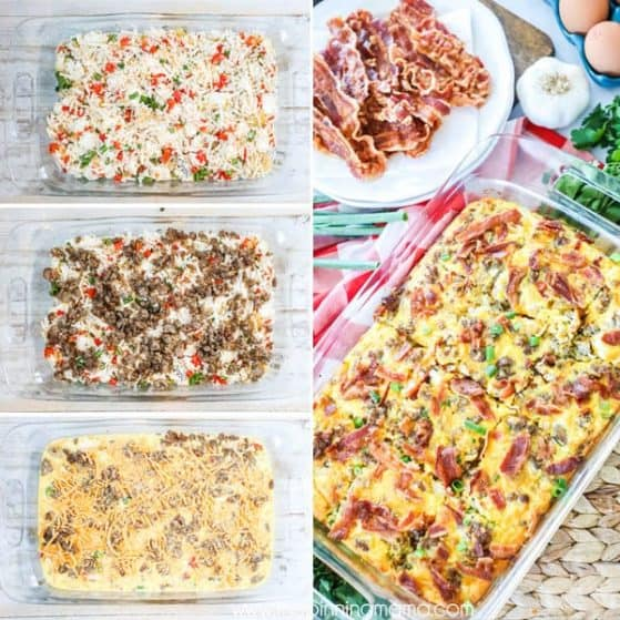 Easy Hashbrown Breakfast Casserole with Sausage and Bacon