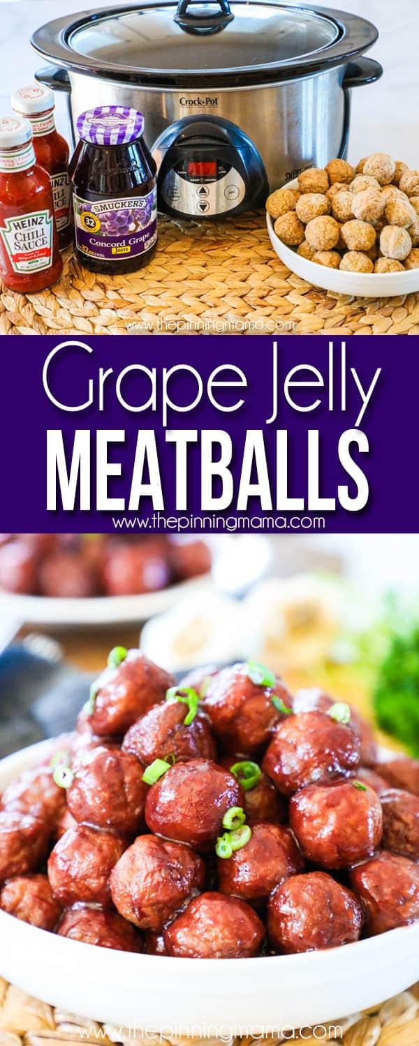 Grape Jelly Meatballs- BEST easy appetizer!