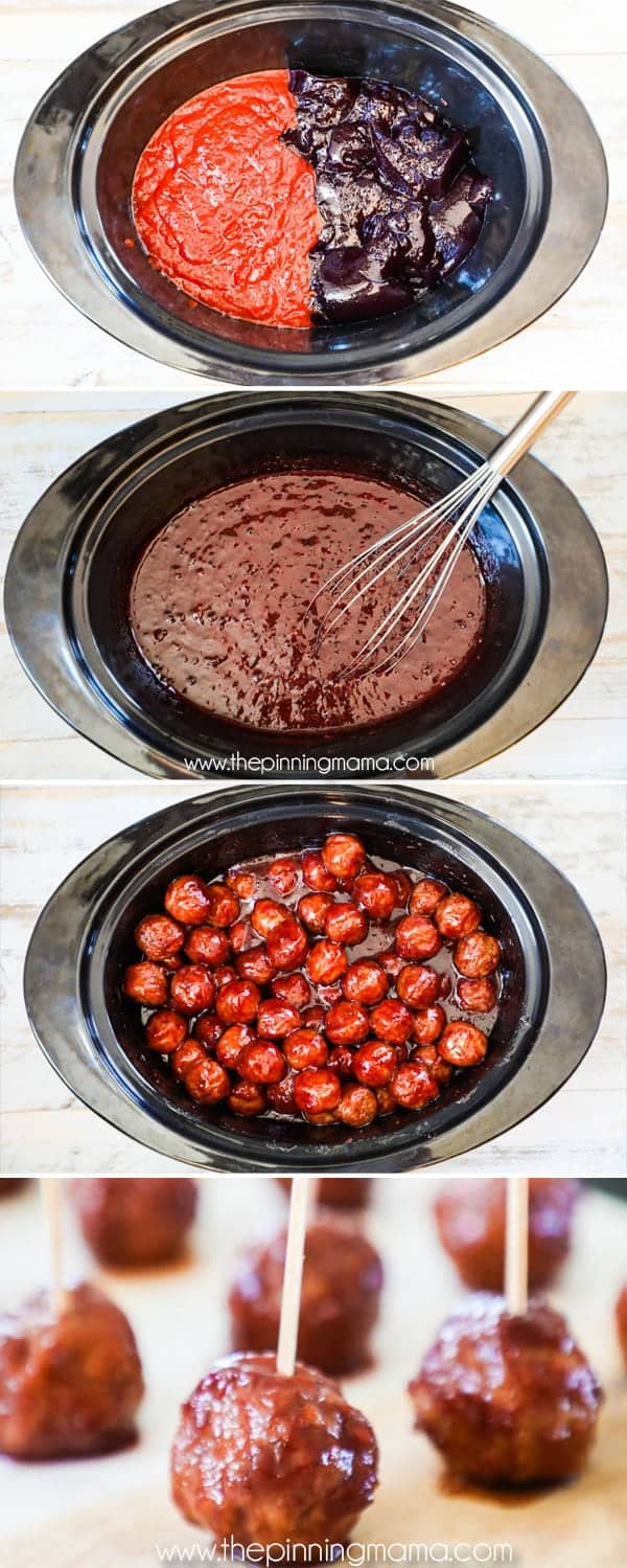How to Make Grape Jelly Meatballs in Crockpot- Add chili sauce and jelly and mix, then add meatballs and stir to combine. Serve on toothpicks as an appetizer.