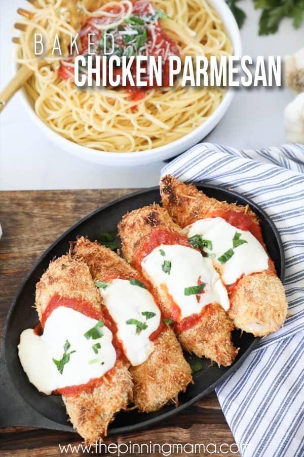 Chicken Parmesan Recipe served with spaghetti