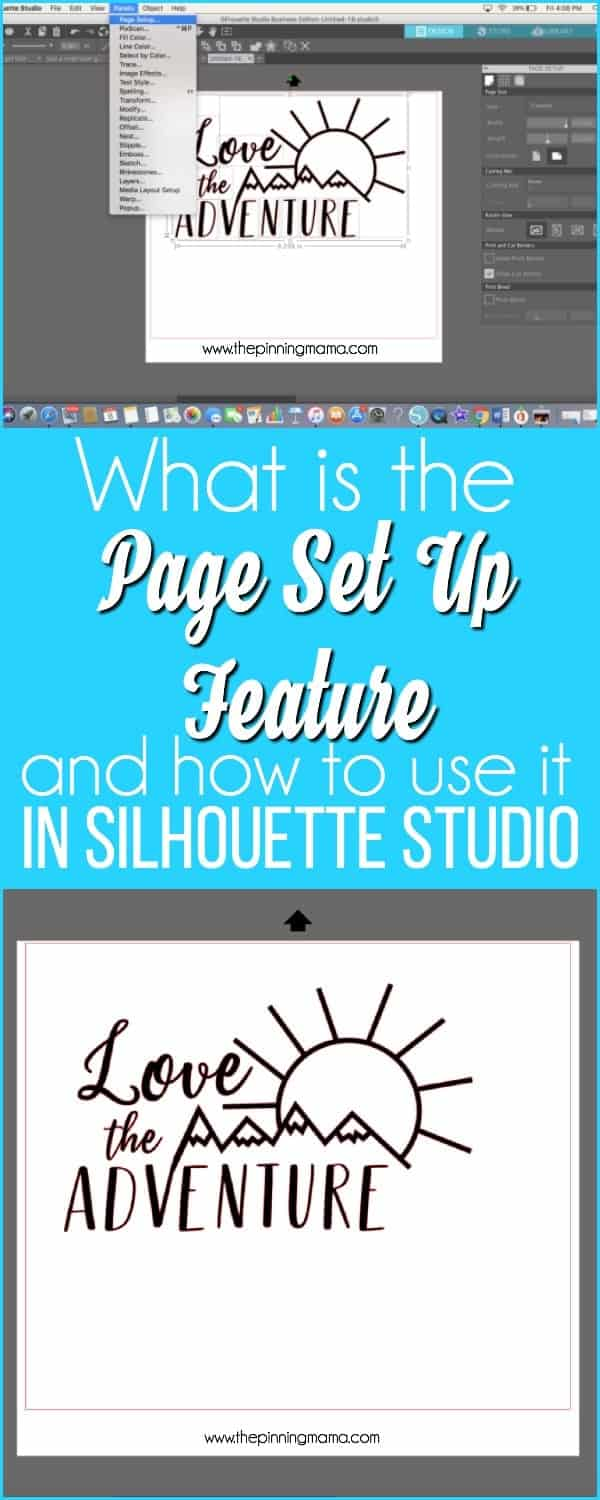 What is the page set up feature and how do I use it in Silhouette Studio.
