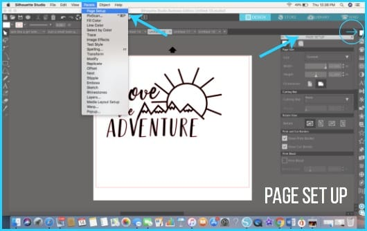 Where to find Page Set Up in Silhouette Studio.