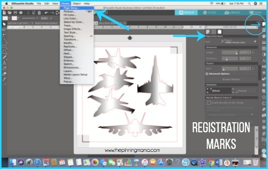 Where to find Registration Marks in Silhouette Studio.
