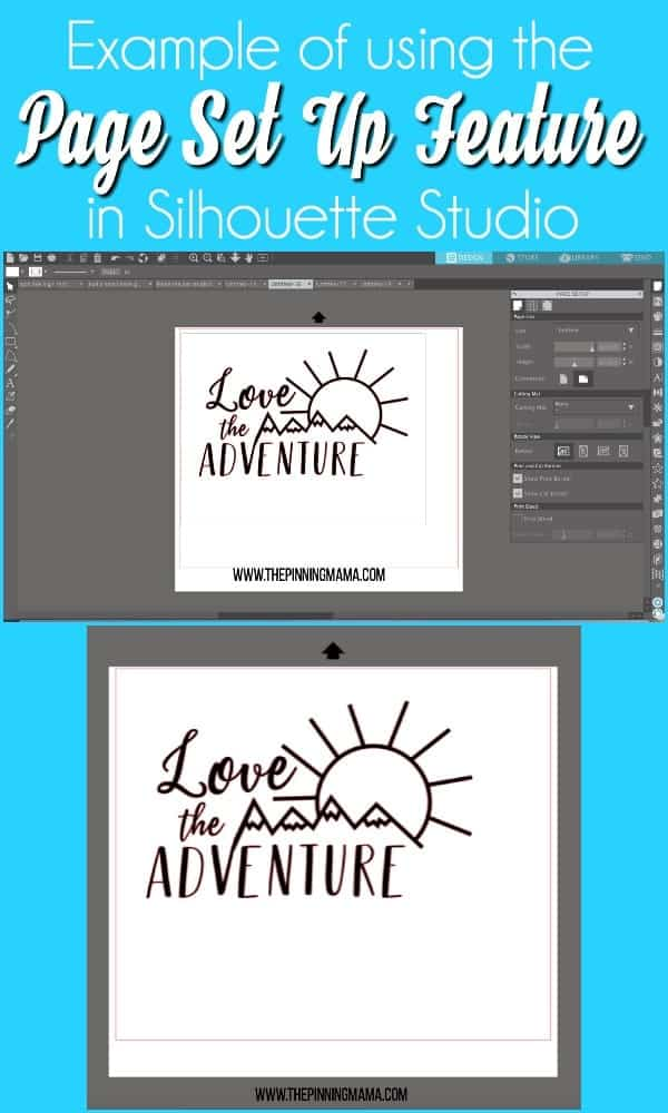 Example of using page set up in Silhouette Studio