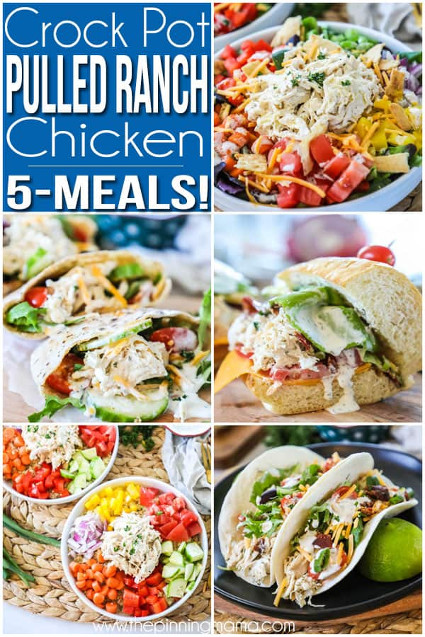 5 ways to use crockpot ranch chicken- Salad, pitas, bacon ranch chicken sandwich, ranch chicken tacos, grain bowl