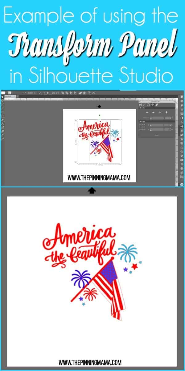 Example of using the Transform Panel in Silhouette Studio.