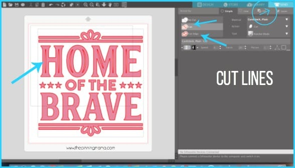 Where to find Cut Lines in Silhouette Studio.
