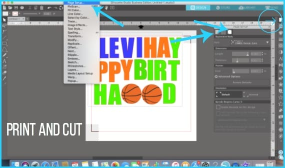 Where to find the Print and Cut feature in Silhouette Studio.