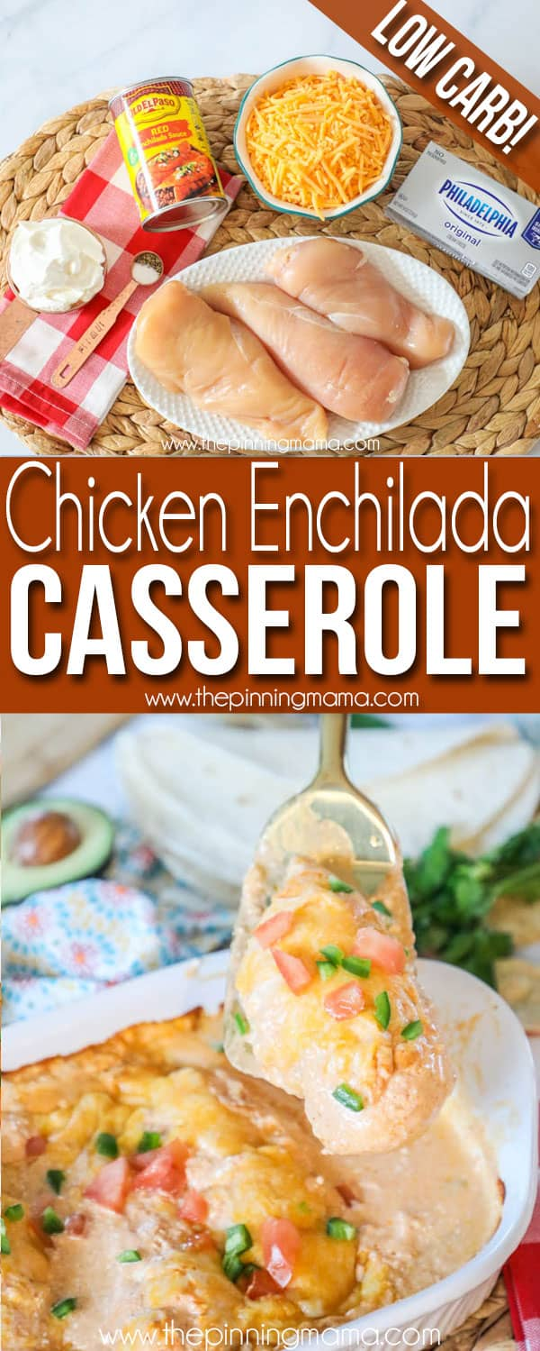 The BEST Chicken Enchilada Casserole - Perfect for easy family dinner