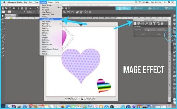 Where to find Image Effect in Silhouette Studio.