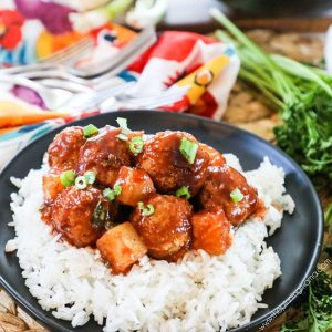 Hawaiian Meatballs served for dinner over rice