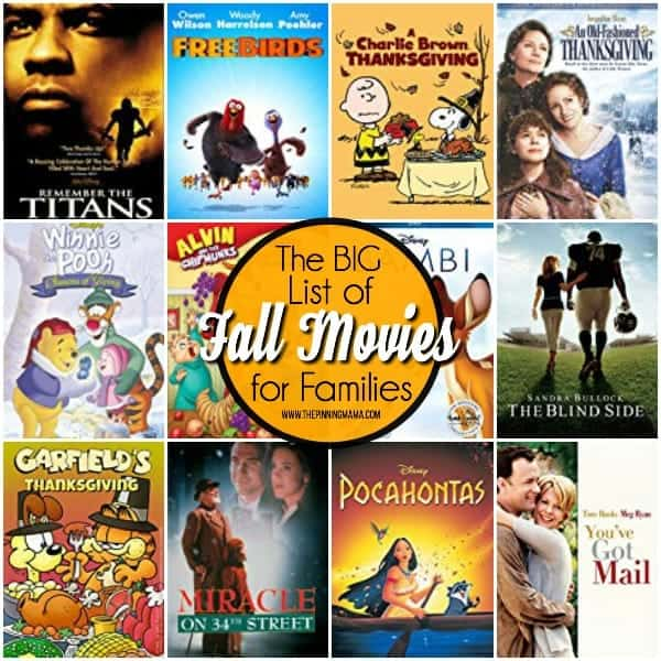 The BIG list of Fall Movies for the Family.