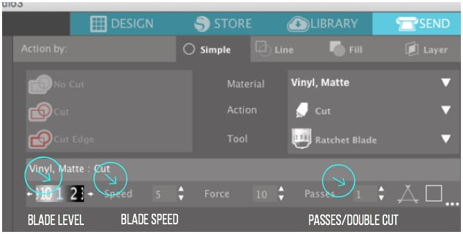 Adjusting Blade Settings in Silhouette Studio.