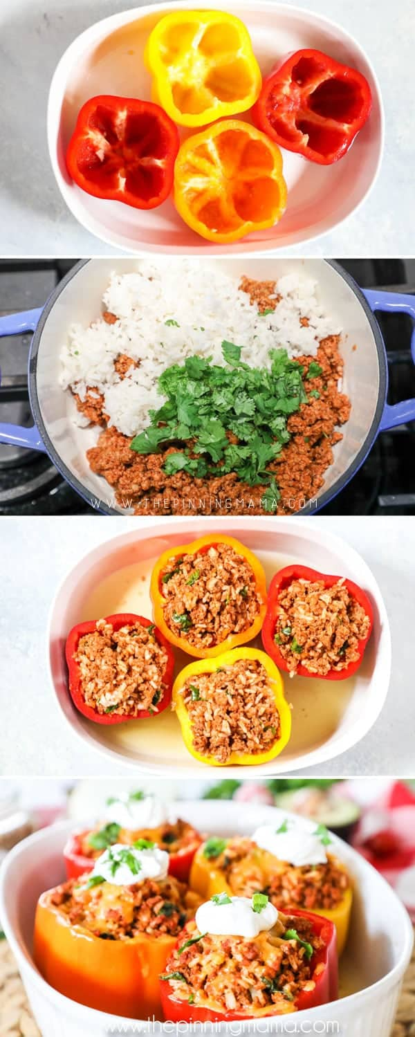 How to make Mexican Stuffed Peppers - Empty peppers and place in dish, mix meat mixture, stuff meat into peppers, bake and top stuffed peppers with sour cream and cilantro