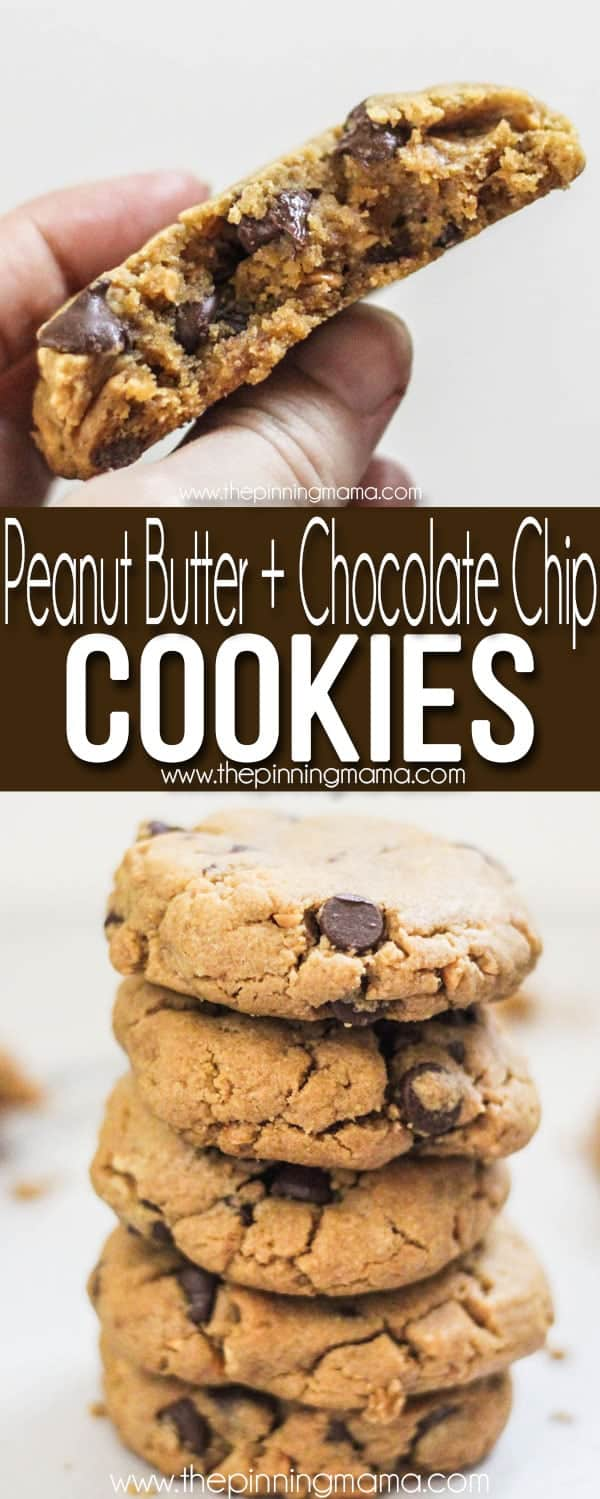 Stack of the BEST Peanut Butter Chocolate Chip Cookies - Thick, Chewy, Soft, delicious!