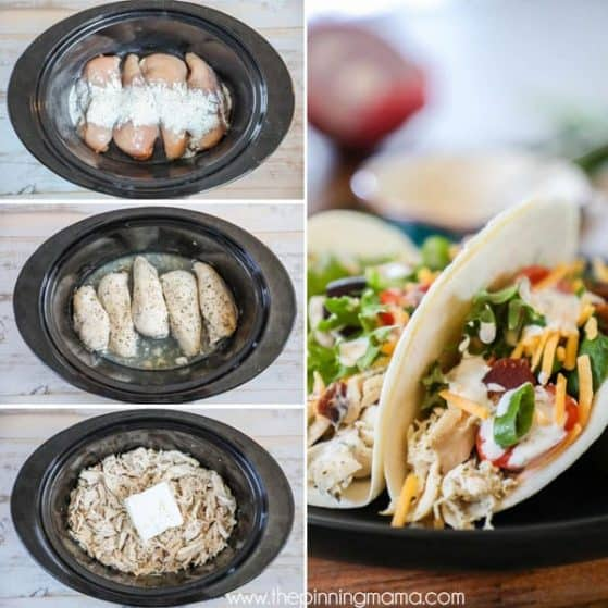 Slow cooker Ranch Chicken Tacos are the best for taco night.