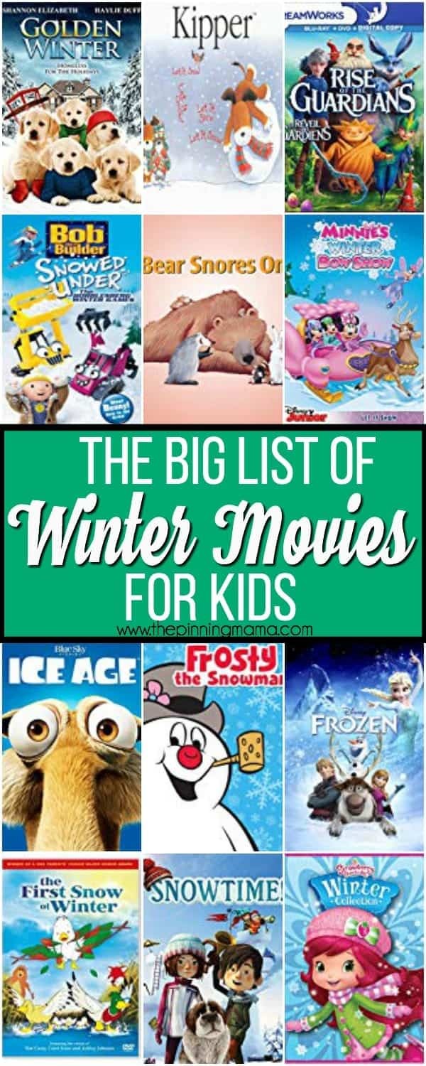 The big list of Winter Movies for Kids.
