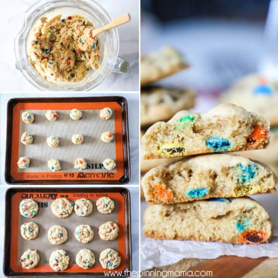 Step by Step M&M Cookie Recipe - Step 1: Make the dough Step 2: Place on Cookie sheet Step 3: Bake and let cool