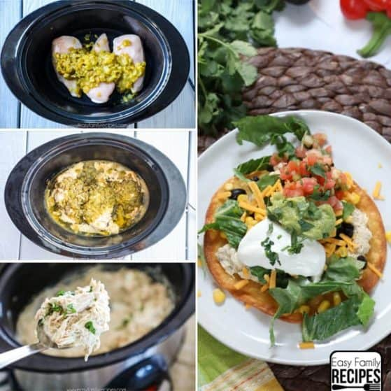 Crockpot Chicken Tostadas are perfect for Taco Tuesday or feeding large crowds.