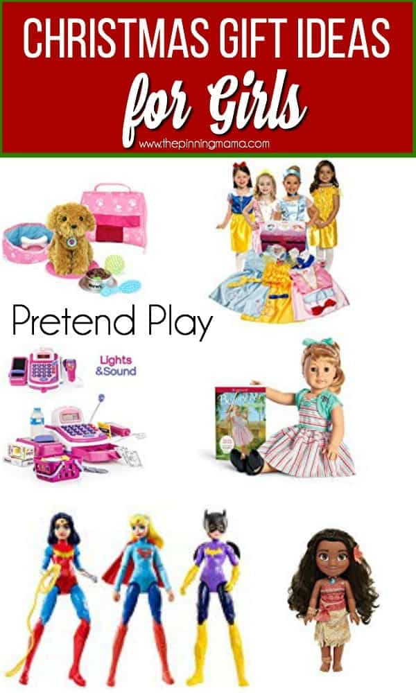 Christmas Gift Ideas for Girls, the big list of pretend play including baby dolls and stuffed animals.