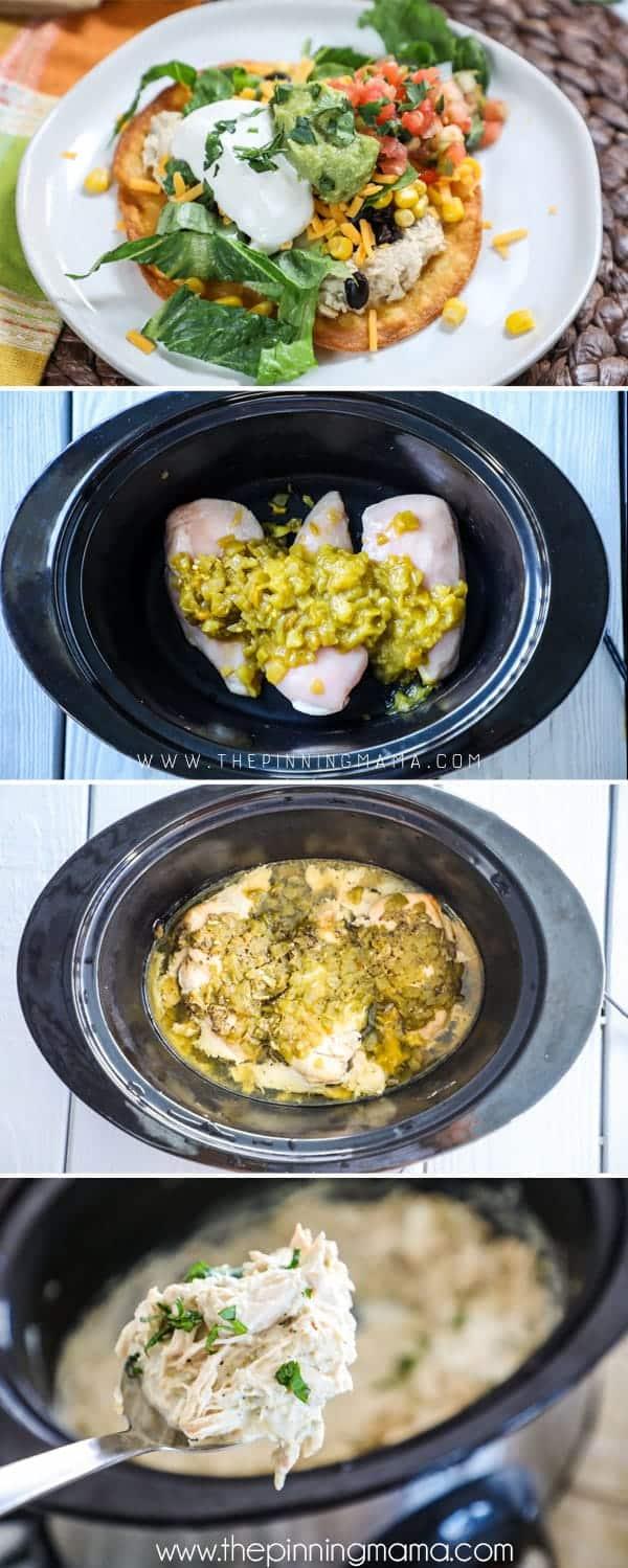 Steps in how to make crockpot chicken tostadas