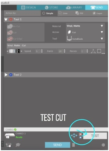 Where to find test cut in Silhouette Studio.