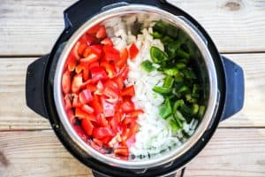 Chicken Fajita Soup Step 1: Sautee bell peppers and onions