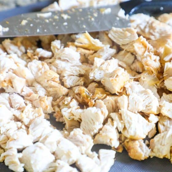 Chicken Fajita Soup Step 4: Once the soup is done cooking remove the chicken breast and chop it into bite sized pieces.
