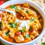 Chicken Fajita Soup Recipe prepared and served in bowl