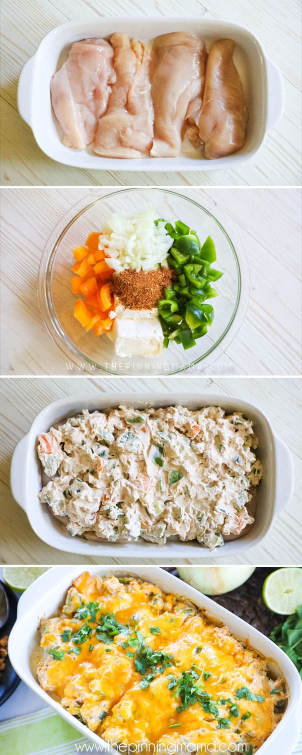 How to Make Creamy Chicken Fajita Bake: Step 1- Lay chicken in casserole dish. Step 2- Combine cream cheese, peppers, onions and seasoning and mix. Step 3: Spread on top of chicken and bake