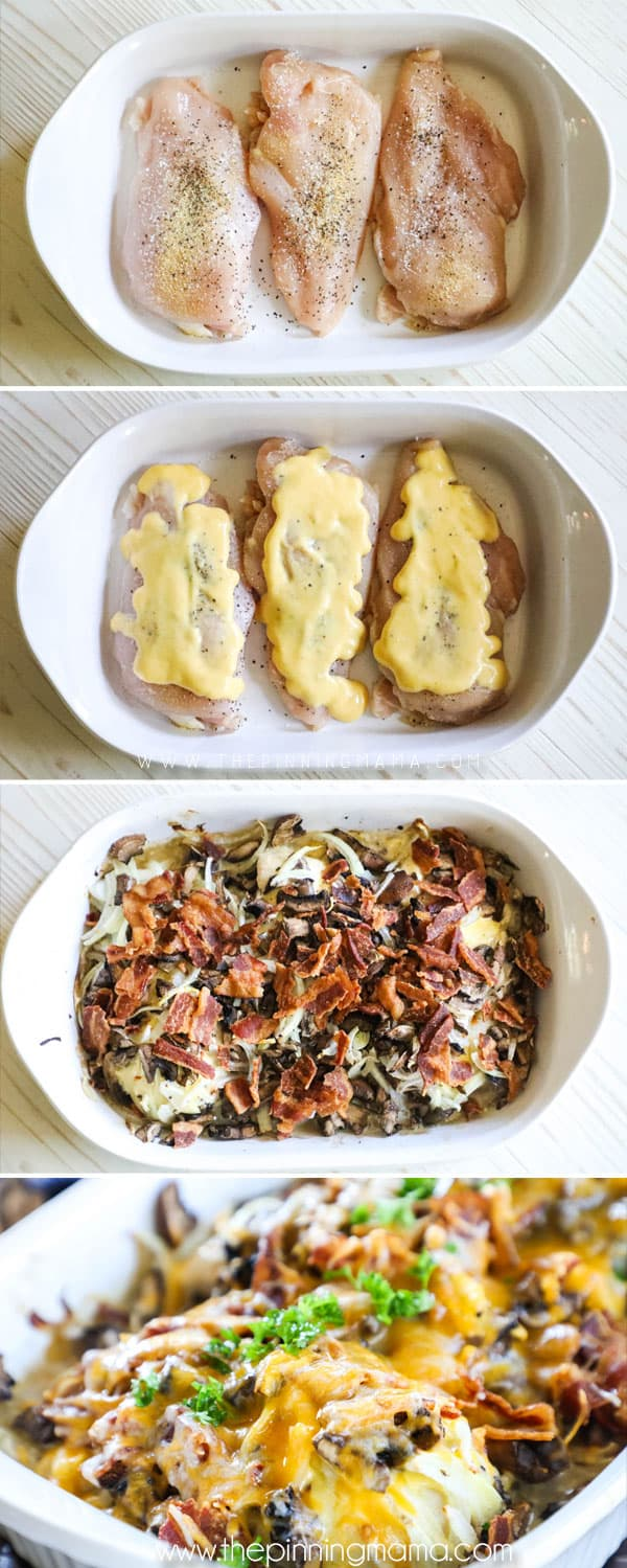 How to Make Honey Mustard Chicken. Step 1: Season the chicken. Step 2: Smother chicken with honey mustard. Step 3: Top chicken with mushrooms, onions, bacon and cheese. Step 4: Bake!