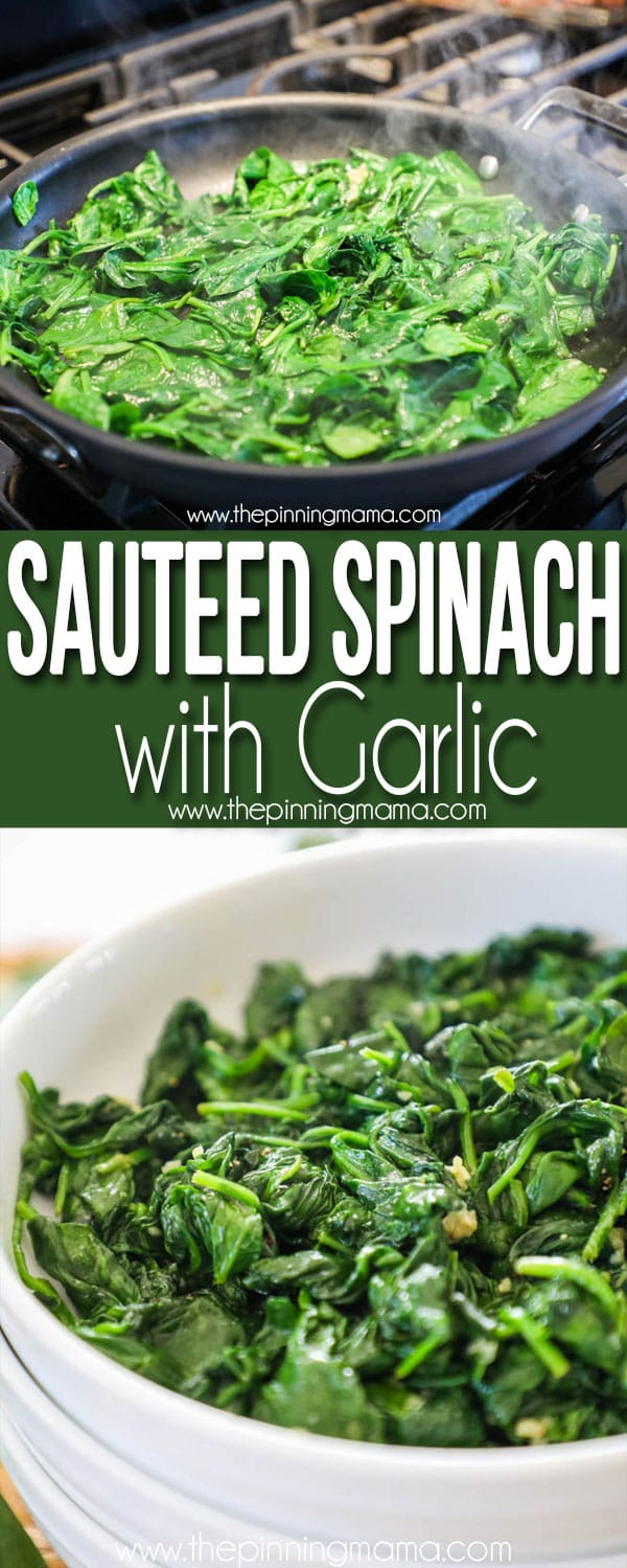 The best and easy side dish Sautéed Spinach with Garlic.