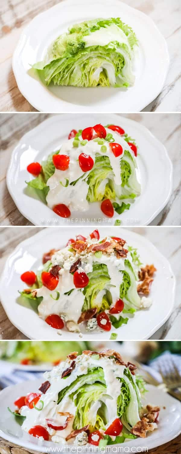 Steps to making classic Wedge Salad.
