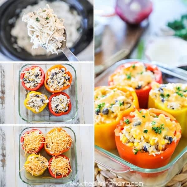 Stuffed chicken peppers are a delicious wholesome family meal.