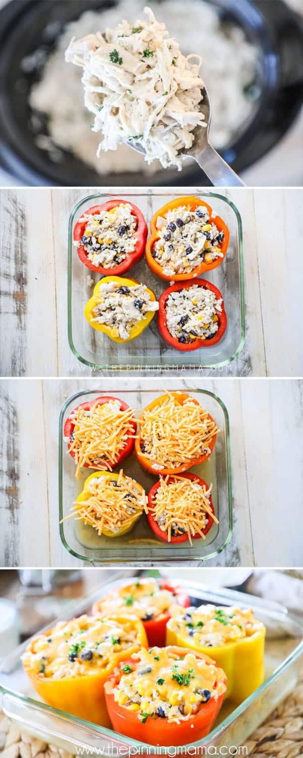 Steps to make Ranch Chicken Stuffed Peppers.