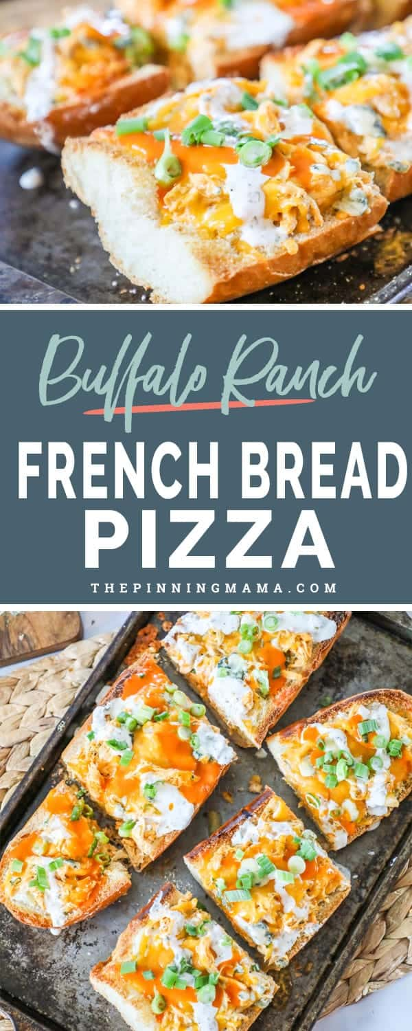 Delicious and cheesy buffalo ranch French bread pizza.