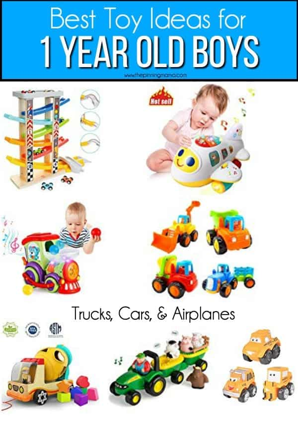 List of car, trucks, and airplane toy ideas for 1 year old boys.