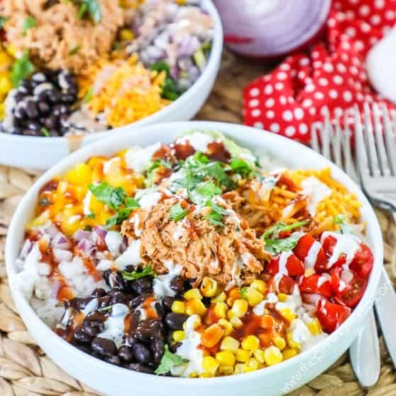 Recipe for BBQ Chicken Power Bowl.