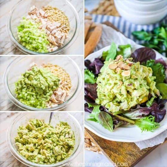 Delicious avocado chicken salad is quick and easy to make.