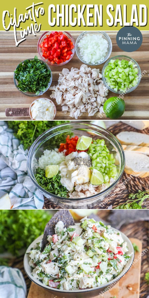 Steps to making cilantro lime chicken salad.