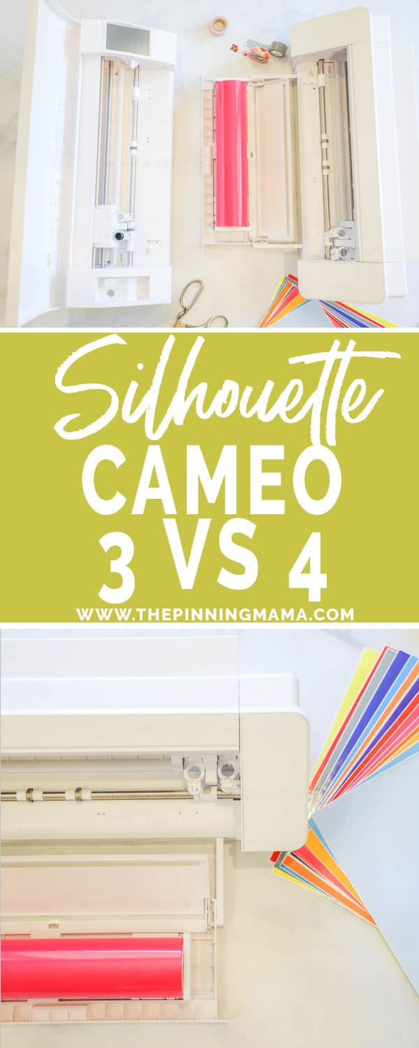 Silhouette CAMEO 3 and Silhouette CAMEO 4 next to each other