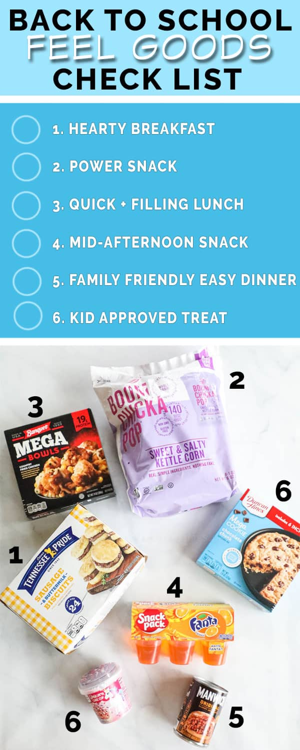 Checklist for back to school meals and snacks
