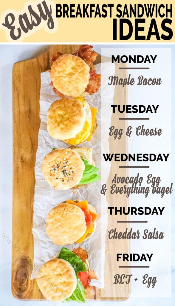 5 different flavors of sausage biscuits labeled for each day of the week