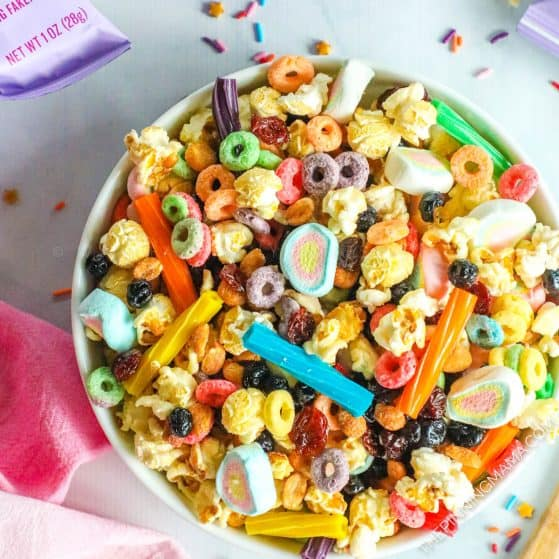 Unicorn Snack Mix in a bowl